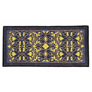 Pictured is the 56 inch x 26 inch Wool Tabriz Blue Rectangular Hearth Rug manufactured in America by Minuteman.