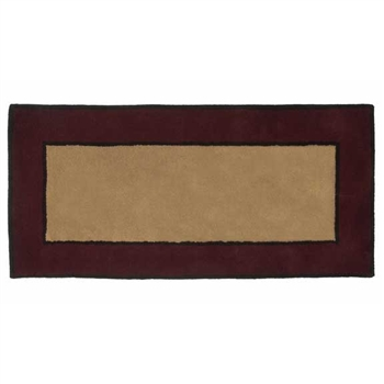 Pictured is the 26 inch x 56 inch Contemporary II Berry Fire Resistant Hearth Rug manufactured in America by Minuteman.