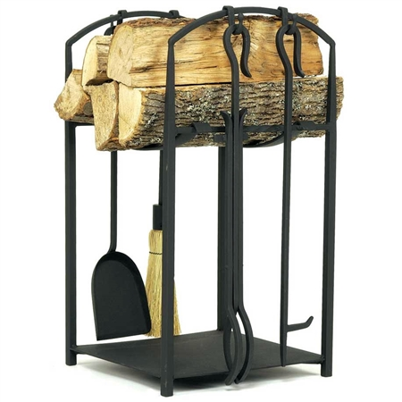 Pictured is the Mission I Wood Holder with 4 Tool Fireplace Set manufactured by Minuteman