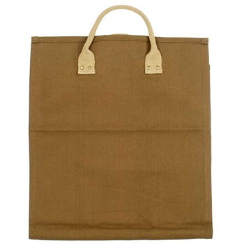 Pictured here is the Brown Canvas Open End Log Carrier manufactured by Minuteman.