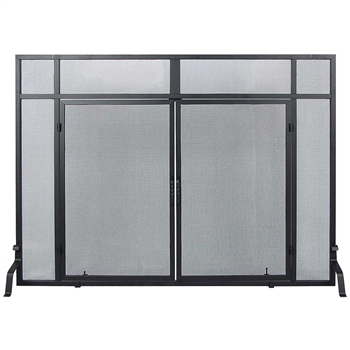 Pictured here is the Windowpane Hearth Screen with Woven Mesh  Doors.