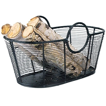 "Pictured here is the Small Steel Wire Log Basket which measures  23"" x 12"" x 13"" and manufactured by Minuteman."