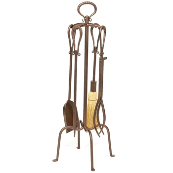 Pictured is the Bronze Fireplace Tool Set with Loop Handles manufactured by Minuteman