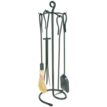 Pictured is the Modern 5 Piece Shepherd's Hook Fireplace Tool Set manufactured by Minuteman