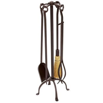 Pictured is the Bronze 5 Piece English Country Fireplace Tool Set manufactured by Minuteman