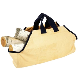 Pictured here is the Tan Canvas Log Carrier with Navy Trim manufactured by Minuteman.