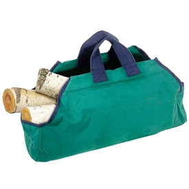 Pictured here is the Green and Navy Canvas Log Carrier manufactured by Minuteman.