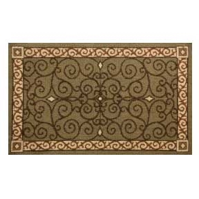 Pictured is the 46 inch x 28 1/2 inch Rectangle Hearth Rug with Eastly Scroll Design manufactured in America by Napa Forge.