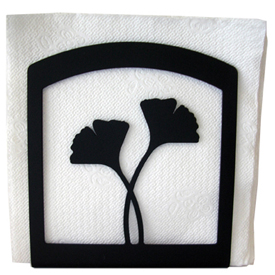 Wrought Iron Ginko Leaf Napkin Holder