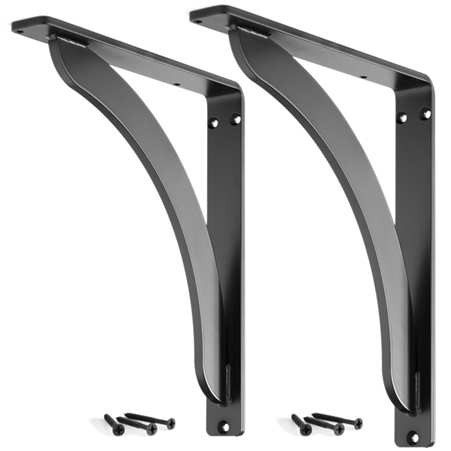 Pictured here are the Stout 10-inch Shelf Brackets with a timeless flat black powder coat finish.