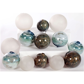 Pictured is an assortment of 12 Glass Spheres in random sizes and colors including Mirage, Ocean and Frost