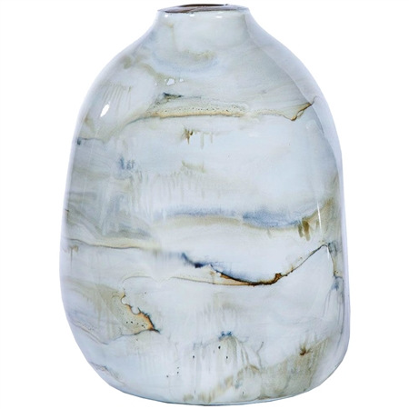 Pictured here is the small recycled glass urn with smoke finish.