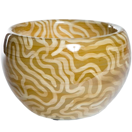 Pictured here is the Safari Trails Glass Bowl, hand-made from recycled glass.