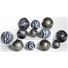 Pictured is an assortment of 12 Glass Spheres in random sizes and colors including Zebra, Concord and Emperor's Stone.