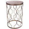 Pictured here is the Transitional style Grand Avenue Accent Table with metal frame and  marbled glass table top.