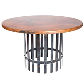 "Pictured here is the Ashton Dining Table with Wrought iron base and 48"" Round Hammered Copper Table Top"