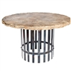 "Pictured here is the Ashton Dining Table with Wrought iron base and 48"" Round Marble Table Top"