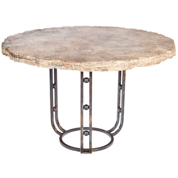 "Pictured here is the Clayton Dining Table with Wrought iron base and 48"" Round Marble Table Top"