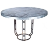 "Pictured here is the Clayton Dining Table with Wrought iron base and 54"" Round Hammered Zinc Table Top"