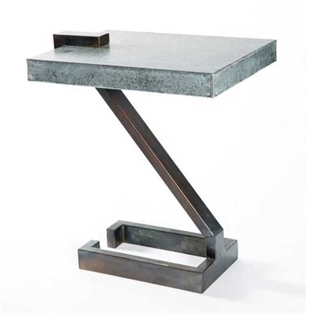 Pictured here is the Z Accent Table which featuring a Zinc table top and a strong Iron frame. Proudly made by Prima that measures 8-in x 16-in x 22-in