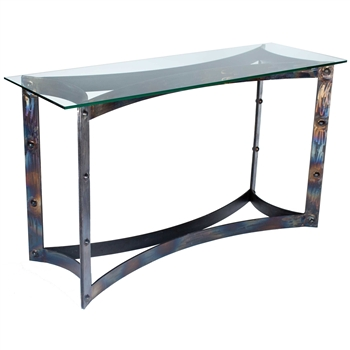 Pictured here is the Sebastian Console Table with Wrought iron base and Glass Table Top
