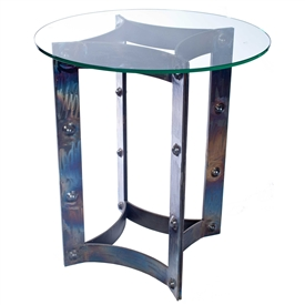 Pictured is the Sebastian End Table Base available in 3 finish options and supports a 24 inch round table top of your choice.