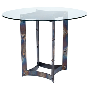 Pictured here is the Sebastian Round Dining Tablewith Wrought iron base and