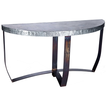 Pictured here is the Demi Lune Strap Console Table with Wrought iron base and Hammered Zinc Table Top