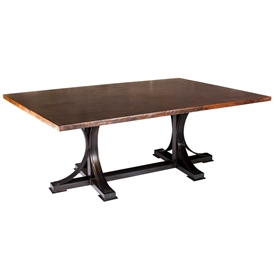 Pictured here is the Winston Rectangle Dining Table with Wrought iron base and Hammered Copper Table Top