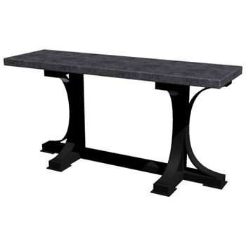 Pictured here is the Winston Console Table with Wrought iron base and Rectangle Hammered Zinc Table Top