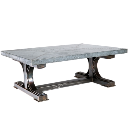 Pictured here is the Winston Cocktail Table with Wrought iron base and Hammered Rectangle Zinc Table Top