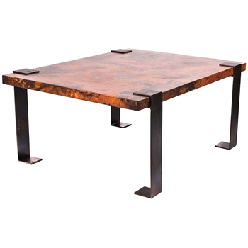 Pictured here is the Hudson Small Cocktail Table with Wrought iron base and Rectangle Hammered Copper Table Top