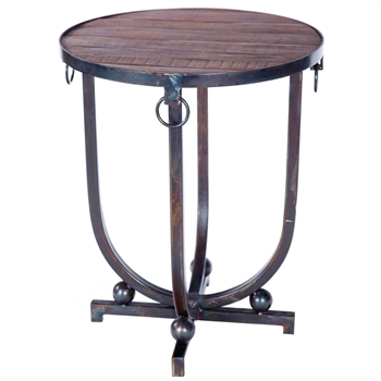Pictured is the Accent Table with Hardware Rings Base available in 3 finish options and supports a 20 inch round table top of your choice.