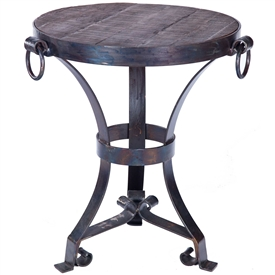 Pictured is the Rutland Accent Table with Hardware Rings Base available in 3 finish options and supports a 22.5 inch round table top of your choice.