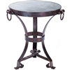 Pictured here is the Rutland Accent Table Hammered Zinc Table Topwith Wrought iron base and