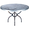 "Pictured here is the Logan Dining Table with Wrought iron base and 48"" Round Hammered Zinc Table Top"