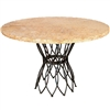 "Pictured here is the Infinity Dining Table with Wrought iron base and 54"" Round Marble Table Top"