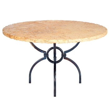 "Pictured here is the Logan Dining Table with Wrought iron base and 54"" Round Marble Table Top"