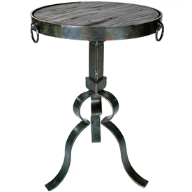 Pictured is the Carver Round Iron Accent Table Base available in 3 finish options and supports a 14.5 inch round table top of your choice.