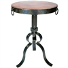 Pictured here is the Carver Iron Accent Table with Wrought iron base and Hammered Copper Table Top