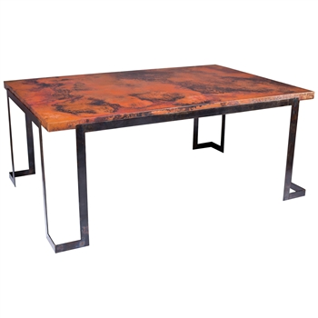 Pictured is the Steel Strap Rectangle Dining Table Base available in 3 finish options and supports a 71.5 inch by 47.5 inch table top of your choice.