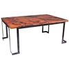 Pictured here is the Steel Strap Rectangle Dining Table with Wrought iron base and Copper Table Top