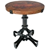 Pictured here is the Iron Rivet Strap Accent Table with Wrought iron base and Hammered Copper Table Top