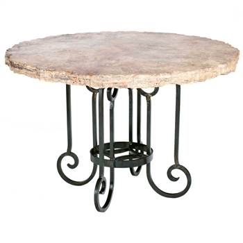 "Pictured here is the Curled Leg Dining Table with Wrought iron base and 48"" Marble Table Top"