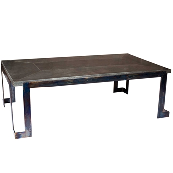 Pictured here is the Steel Strap  Cocktail Table with Wrought iron base and Hammered Zinc Table Top