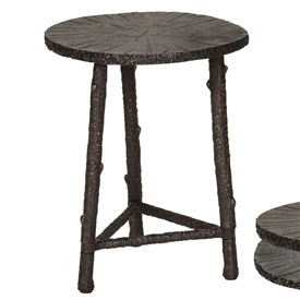 Pictured is the Rustic Branch Accent Table with cast aluminum table top and aluminum frame with your choice of Bronze or Silver finish.
