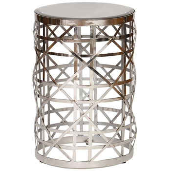 Pictured is the Broadway Accent Table which features a Mirrored Glass table top on a Nickel Plated Steel frame that measures 15-inches diameter by 22-inches tall.