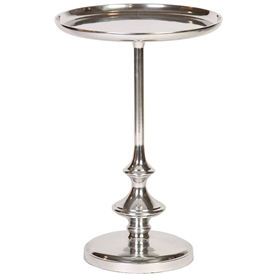 Pictured here is the aluminum Stiletto Accent Table  with pedestal base and round tray table top..