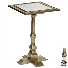 Pictured is the Penley Accent Table which features a Mirrored Glass table top and an aluminum frame with your choice of Polished Nickel or Antique Brass finish options by Prima that measures 16.25-in x 16.25-in x 24.25-in