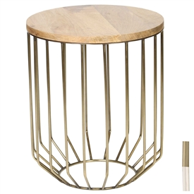 Pictured is the Wire Frame Accent Table which features a Mango Wood table top and an iron/Wood frame with your choice of Polished Nickel or Antique Brass finish options by Prima that measures 20-in x 20-in x 24.25-in